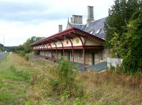 The surviving restored station building at Melrose in September 2003, looking west towards Tweedbank, a mile and a half away. The A6091 now runs past the site on the left.<br><br>[John Furnevel 16/09/2003]