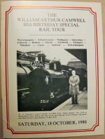 Cover of the souvenir booklet produced for the participants on the <I>Cam</I> Camwell 80th Birthday special train hauled by LNWR 0-6-2T 58926/1054 on 18 October 1986. The picture shows <I>Cam</I> alongside another SLS special from 1955, this one hauled by GWR <I>Dean Goods</I> 0-6-0 2516.<br><br>[W A Camwell Collection (Courtesy Mark Bartlett)&nbsp;18/10/1986]