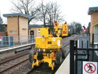 Part of the electrification team in action at Huyton station on Boxing Day 2014.<br><br>[Veronica Clibbery&nbsp;26/12/2014]