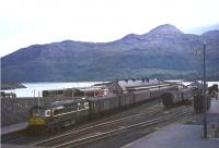 D5334 prepares to leave Kyle of Lochalsh for Inverness on 17 August 1965.<br><br>[John Robin&nbsp;17/08/1965]