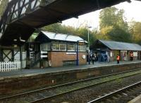 Another view of the former signalbox at Bodmin Parkway in November 2014. Its use as a cafe provides a useful facility and 'recycles' a building with plenty of life left. Notice the modern station building on the right. [a considerable improvement on that seen in image 36651] The station staff were helpful and efficient, and excited to see a surge in visitors as the Branch Line Society ran a special down the Bodmin and Wenford Railway.<br><br>[Ken Strachan&nbsp;29/11/2014]