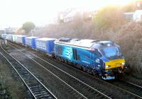 DRS 68003 <I>'Astute'</I> heads north through Arbroath on Sunday 19th January 2015 with the Grangemouth - Aberdeen <I>Intermodal</I> container train.<br><br>[Sandy Steele&nbsp;19/01/2015]