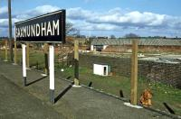 This is the former goods dock at the northern end of Saxmundham station on 16th April 1979, when it was serving as a pen for a rather languid canine that affected disinterest in the camera. A platform fence was under construction to hold back the unwary. A nice touch would have been the odd umbrella, briefcase and shreds of clothing lying chewed on the floor of the pen along with a few bones...<br><br>[Mark Dufton&nbsp;16/04/1979]