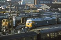 There's plenty of stock on hand at Norwich on 9th December 1978. 47130 is preparing to head for London Liverpool street and 03086 is engaged on carriage marshalling duty. A Cravens DMU is stabled in the foreground.<br><br>[Mark Dufton&nbsp;09/12/1978]
