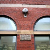 One of the original firebells from the former High Street Goods station, retained along with the brick facade and now a feature on the north wall of the new buildings on Duke Street [see image 9115].<br><br>[Colin McDonald&nbsp;27/01/2015]