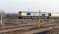 GBRf 66736 <I>'Wolverhampton Wanderers'</I> passing west through Didcot on 22 January 2015. The freight, which would appear to be a new flow, is about to turn north towards Oxford.<br><br>[Peter Todd //]