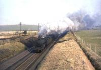 Black 5 45235 climbing to Polquhap Summit south of Cumnock on 2 April 1965 with a parcels train. <br><br>[John Robin&nbsp;02/04/1965]