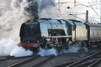 46233 <I>Duchess of Sutherland</I> leaves the Carnforth loops on 31st January with a <I>Cumbrian Mountain Express</I> charter, its first outing of 2015. The train had started from Euston and was hauled to Carnforth by two WCRC Brush Type 4s due to the failure of the booked electric locomotive, 86259 <I>Les Ross</I>. <br><br>[Mark Bartlett&nbsp;31/01/2015]