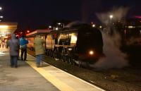 46233 <I>Duchess of Sutherland</I> is the centre of attention at Blackburn station on 31 January 2015, following arrival with the southbound 'Cumbrian Mountain Express.'<br><br>[John McIntyre&nbsp;31/01/2015]