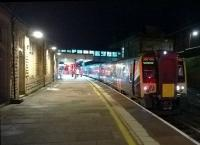 The late running 18.27 to Manchester Airport is about to leave Lancaster platform 5 on 28th September 2015.<br><br>[Ken Strachan&nbsp;28/01/2015]