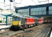 87020 <I>North Briton</I> stands at Carlisle platform 4 on 13 May 2003, shortly after arriving with a Virgin Trains terminating service from London Euston.<br><br>[John Furnevel&nbsp;13/05/2003]
