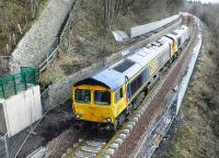 The tracklaying train in action at Galashiels on 4 February 2015 near the site of Selkirk Junction.<br><br>[Alasdair Taylor&nbsp;04/02/2015]