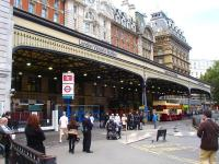 A view along the decorative west side frontage of London Victoria station, on 3 October 2012.<br><br>[David Pesterfield&nbsp;03/10/2012]