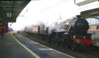 The first <I>Winter Cumbrian Mountain Express</I> of 2015 passes through Penrith North Lakes with Black 5 45407 in charge. The Jubilee <I>Leander</I> was to have double headed with 45407 but was failed on the morning of the tour.<br><br>[Ken Browne&nbsp;24/01/2015]
