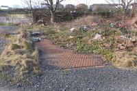 The remains of the old weigh bridge among the dereliction of the former Girvan goods yard on 2 February 2015.<br><br>[Colin Miller&nbsp;02/02/2015]