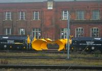 Snow ploughs stored in the sidings south of Doncaster on 10th February 2015.<br><br>[Colin McDonald&nbsp;10/02/2015]