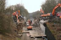 The road bridge carrying the A673 Chorley Road at Heath Charnock (NGR SD598147) was demolished on 14 February 2015 during a 54 hour possession. The view is south towards Adlington from a temporary footbridge that has been installed.<br><br>[John McIntyre&nbsp;14/02/2015]