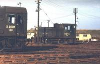 Diesel shunters D3902 and D2416 in Leith South yard in the early 1970s. [See image 5709]<br><br>[Bill Roberton&nbsp;//]