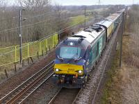 DRS 68002 in charge of the returning Edinburgh - Carmarthen rugby special at the former Camps Junction on 16 February 2015.<br><br>[Bill Roberton&nbsp;16/02/2015]