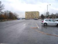 Looking south over Court House Car Park in Barnsley, in February 2015, towards the site of Court House Station (located approximately where the large building now stands) along the Midland Railway approach spur from its connection with the former Manchester, Sheffield and Lincolnshire Railway.<br><br>[David Pesterfield&nbsp;16/02/2015]