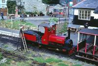 Hunslet Quarry engine <I>Covertcoat</I> operating on the Launceston Narrow Gauge Railway on 25 April 1993.<br><br>[Peter Todd&nbsp;25/04/1993]