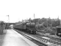 Gresley V3 67681 arriving at Airdrie on 26 August 1958 with a train from Hyndland.<br><br>[G H Robin collection by courtesy of the Mitchell Library, Glasgow&nbsp;26/08/1958]