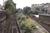 View west over Newington Station (closed September 1962) in the 1970s. The platform was later removed and the track realigned. [See image 7602]<br><br>[Bill Roberton&nbsp;//]