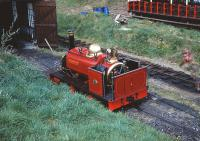 Scene on the Launceston Narrow Gauge Railway on 25 April 1993 featuring Hunslet Quarry engine <I>Velinheli</I>.<br><br>[Peter Todd&nbsp;25/04/1993]