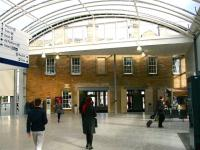 Part of the attractive concourse at Haymarket in February 2015, with the refurbished west wall of the original 1842 Edinburgh and Glasgow Railway building neatly incorporated within the new structure. [See image 6956]<br><br>[John Furnevel&nbsp;18/02/2015]