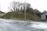 View towards Alloway Junction over the Maybole Road on 21 February 2015. The vegetation is cleared - and next probably the bulldozers will be in to remove the embankment. Apparently a new roundabout is being built at the junction of Maybole Road and the A77.<br><br>[Colin Miller&nbsp;21/02/2015]