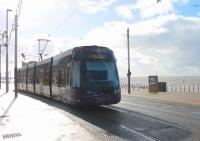 High tide at Blackpool as <I>Flexity</I> 003 leaves North Pier heading for Starr Gate. 21st February 2015 saw the highest astronomical tides for around nineteen years but fine weather meant Blackpool promenade was unaffected and tram services ran normally.<br><br>[Mark Bartlett&nbsp;21/02/2015]