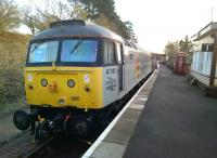 With the society's class 31 having moved to Rushden, the resident main line diesel on the Northampton and Lamport Railway is now 47395 - and very smart it looks too. View south along the platform towards Northampton on 21 February 2015. [See image 3139]<br><br>[Ken Strachan&nbsp;21/02/2015]