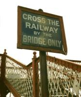 A venerable sign (and some fine ironwork) at Barry Links station in October 1997.<br> <br><br>[David Panton&nbsp;23/10/1997]