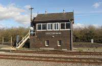 The signal box at Moreton-in-Marsh on 27 February 2015.<br><br>[Peter Todd&nbsp;27/02/2015]