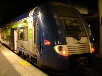 The older unit stock for services in the Picardie region of France are these double deck EMUs, with unit 446 seen stabled at Gare du Nord station late evening on 24 February. [See image 50506]<br><br>[David Pesterfield&nbsp;24/02/2015]