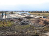 View south showing progress at Shawfair station on 1 March 2015. <br><br>[Ewan Crawford&nbsp;01/03/2015]