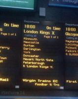 New carrier. A section of the departure board at Waverley on Sunday 1 March 2015.<br><br>[John Yellowlees&nbsp;01/03/2015]
