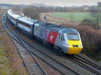 Power car 43300  with Virgin East Coast branding passes Inverkeithing East Junction on 1 March 2015 with the 13.47 Aberdeen - London Kings Cross service. <br><br>[Bill Roberton&nbsp;01/03/2015]