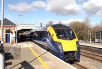 Platform scene at Moreton-in-Marsh on 27 February with First Great Western 180106 running north into the station on a service to Hereford.<br><br>[Peter Todd&nbsp;27/02/2015]