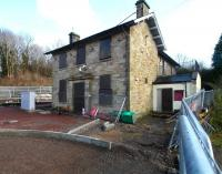 The old station building at Gorebridge, still looking remarkably well on 1 March 2015 as work continues all around on the platform, car park, access roads etc... etc.. [See image 21520] <br><br>[Ewan Crawford&nbsp;01/03/2015]