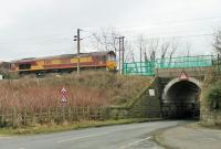 DBS 66140 rumbles slowly over a temporary speed restriction following track relaying at Garstang and Catterall. The train is a coal empties service from Fiddlers Ferry to Hunterston.  <br><br>[Mark Bartlett&nbsp;05/03/2015]