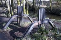 This curious structure made from old rails is to be found near a path off the trackbed of the S&A near the site of the former Aberfoyle locomotive shed.<br><br>[Colin McDonald&nbsp;04/03/2015]