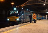 A returning DRS special charter (1Z54) from Wembley Central to Glasgow Central calls at Preston on the evening of 5 March 2015. 68003 was the lead locomotive on this trip, with 68002 on the rear.<br><br>[John McIntyre&nbsp;05/03/2015]