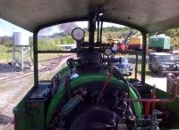 A driver's eye view from <I>Sir Tom</I> at Threlkeld in May 2014 [see image 47908]. The Morris Minor and Land Rover on the right add to the period atmosphere.<br><br>[Ken Strachan&nbsp;18/05/2014]