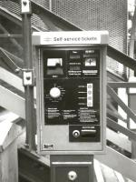 A previous generation of ticket machine, seen here at Cottingham, between Hull and Beverley, in May 1994. Turn the dial for your destination - so long as it's on the same line. Payment was by coin only.<br><br>[David Panton 15/05/1994]