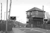 The signal box at Fencehouses on the Leamside line in March 1989.<br><br>[Bill Roberton&nbsp;18/03/1989]
