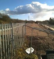 The base for the northbound platform at Bermuda Park, Nuneaton, appears to be complete on 3 March 2015, with two months to go before the planned opening of the new station. View is south towards Bedworth. [see image 49030]<br><br>[Ken Strachan 03/03/2015]