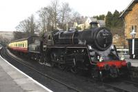 Fifty years to the day after formal closure of the line from Whitby to Rillington Junction,  Standard 4MT 2-6-0 76079, prepares to leave Grosmont with its train to Pickering.<br><br>[Brian Taylor&nbsp;06/03/2015]