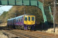 319366 still in FCC livery is now being used by Northern for driver training between Preston and Carnforth. The 5th return trip of 10 March 2015 running as 5Z36 is seen heading back to Preston approaching Brock.<br><br>[John McIntyre&nbsp;10/03/2015]