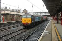 DRS 57012 and 57002, on the Down Fast line through Lancaster station on 13 March taking three nuclear flasks from Crewe to Sellafield. <br><br>[Mark Bartlett&nbsp;13/03/2015]